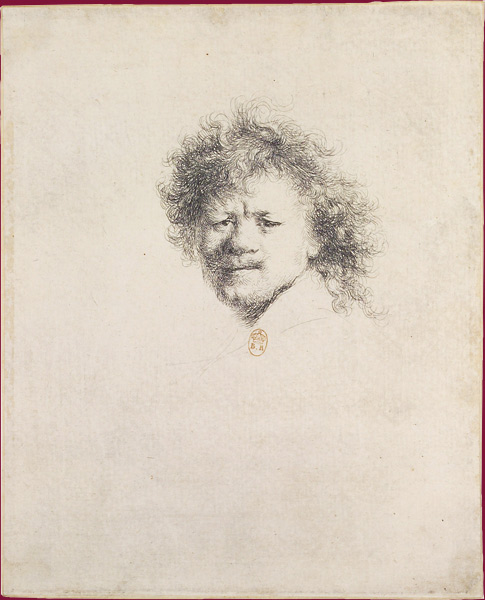 Self-Portrait with Bristly Hair, c.1631. Etching. B. 8, I, original size. Paris, BNF / Autoportrait aux cheveux hérissés, vers 1631. Eau-forte, taille réelle. Paris, BNF.