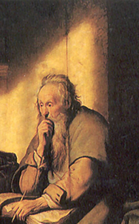 St.Paul in Prison/St.Paul emprisonné, 1627.(Rembrandt avait 21ans)