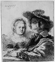 Self-Portait with Saskia,1636. Etching, B.19, I. 1/4 original size. Amsterdam, Rembrandthuis / Autoportrait avec Saskia,1636. Eau-forte, B. 19,I. 1/4 taille réelle. Amsterdam, Rembrandthuis.