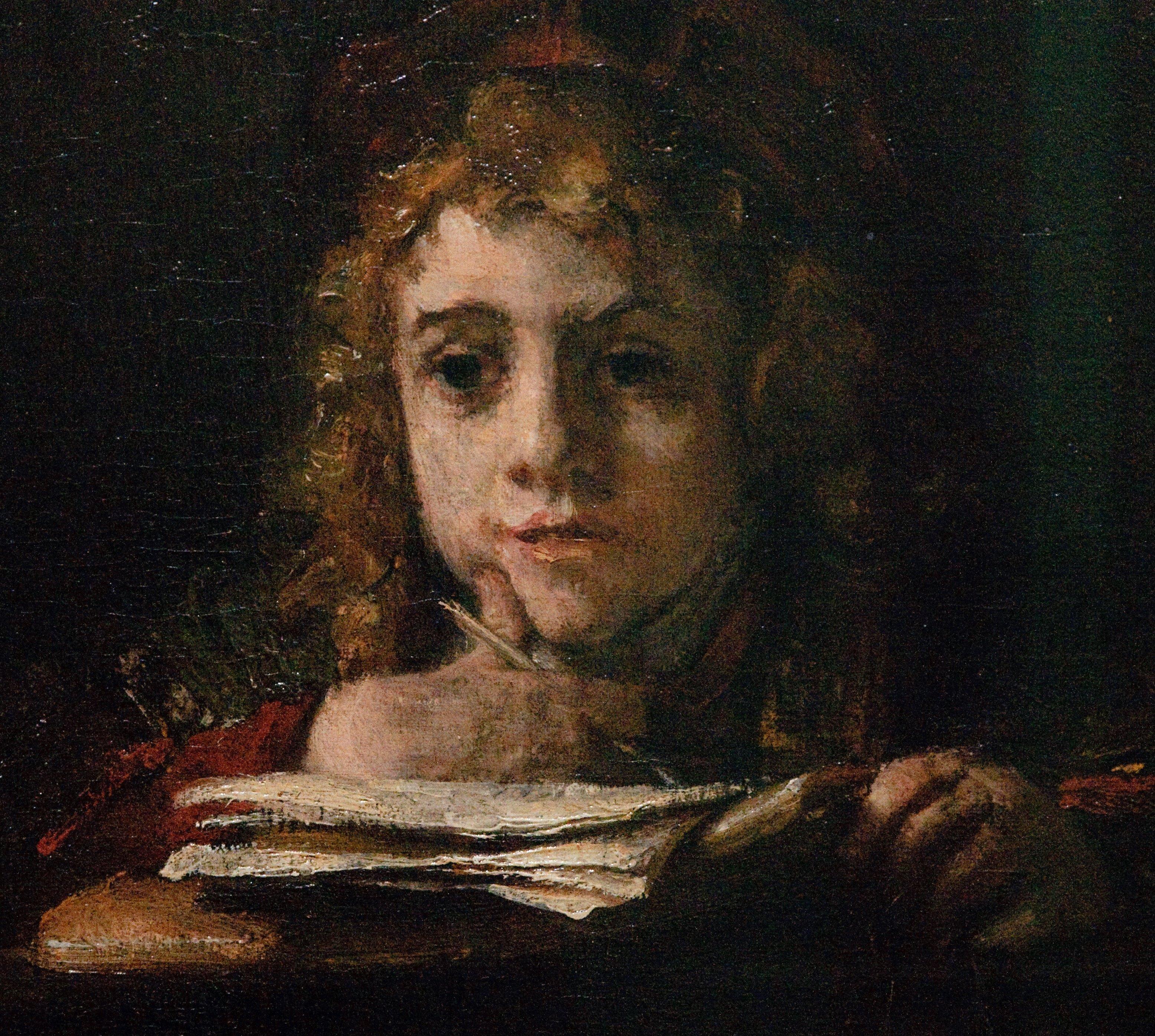 Titus aan de lessenaar, Rembrandt (1655)